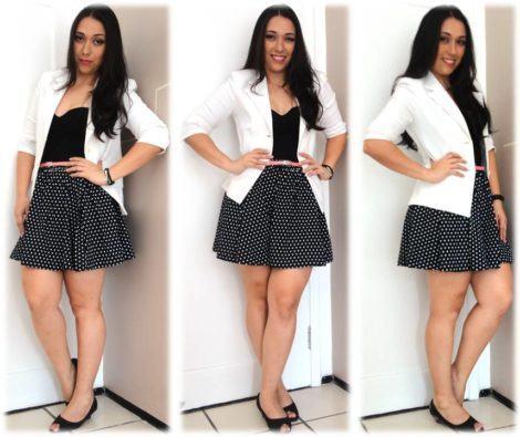 blazer branco com saia preta com bolinha 470x395 - BLAZER FEMININO, com saia, vestido ou calça está em alta