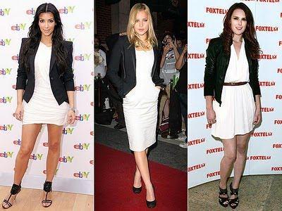 blazer preto com vestido branco - BLAZER FEMININO, com saia, vestido ou calça está em alta