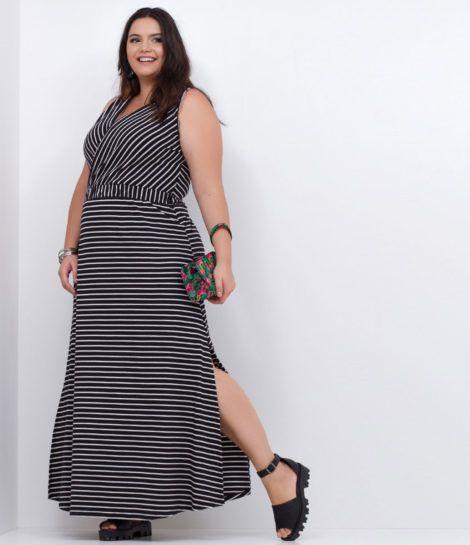 imagem 11 1 470x545 - Vestido LONGO LISTRADO na moda com tênis branco ou sandália