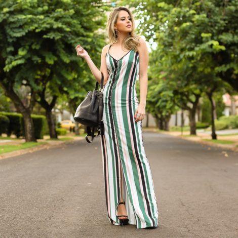 imagem 18 2 470x470 - Vestido LONGO LISTRADO na moda com tênis branco ou sandália