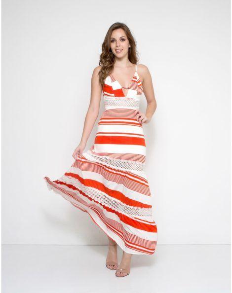 imagem 25 2 470x594 - Vestido LONGO LISTRADO na moda com tênis branco ou sandália