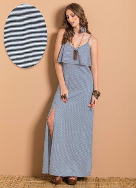 vestido longo listrado 2 470x650 - Vestido LONGO LISTRADO na moda com tênis branco ou sandália