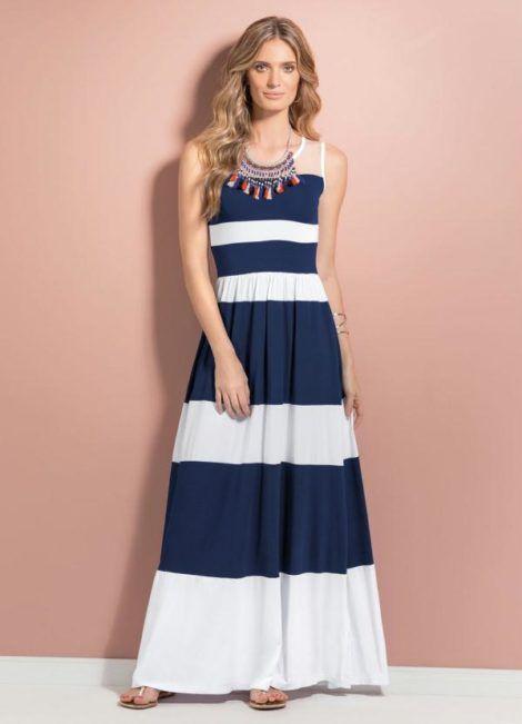 vestido longo listrado 5 470x651 - Vestido LONGO LISTRADO na moda com tênis branco ou sandália