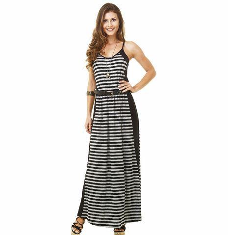 vestido longo listrado 6 - Vestido LONGO LISTRADO na moda com tênis branco ou sandália
