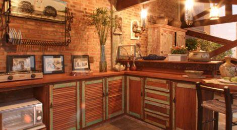 cozinha com moveis rusticos 1 470x258 - Móveis RÚSTICOS para Casa, veja cada ambiente