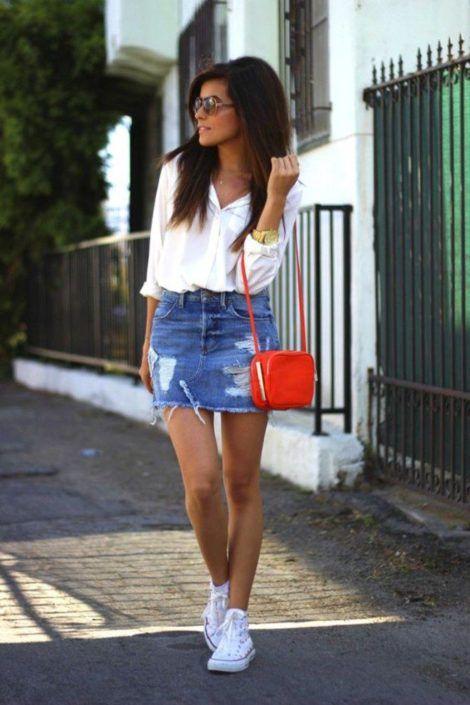 saia jeans curta 10 470x705 - SAIA jeans curta e longa da moda, como usar