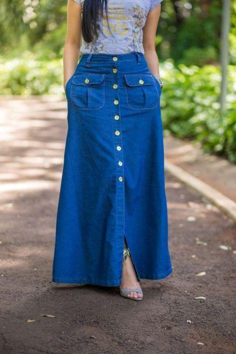saia jeans longa 1 470x705 - SAIA jeans curta e longa da moda, como usar