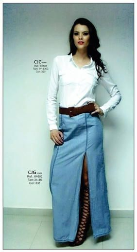 saia jeans longa 13 - SAIA jeans curta e longa da moda, como usar