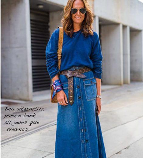 saia jeans longa 2 470x519 - SAIA jeans curta e longa da moda, como usar