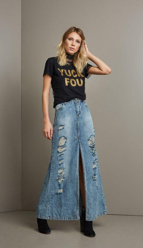 saia jeans longa 3 470x815 - SAIA jeans curta e longa da moda, como usar