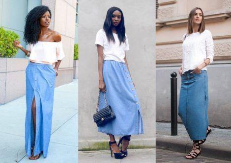saia jeans longa 4 470x333 - SAIA jeans curta e longa da moda, como usar