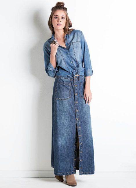 saia jeans longa 5 470x650 - SAIA jeans curta e longa da moda, como usar