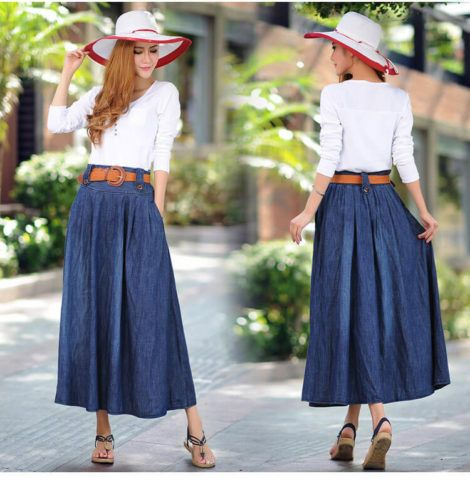 saia jeans longa 6 470x481 - SAIA jeans curta e longa da moda, como usar