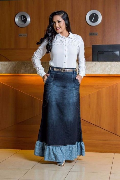 saia jeans longa 7 470x705 - SAIA jeans curta e longa da moda, como usar