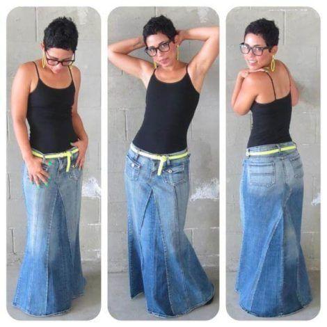saia jeans longa 8 470x470 - SAIA jeans curta e longa da moda, como usar