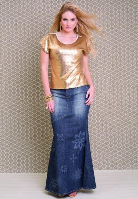 saia jeans longa 9 470x679 - SAIA jeans curta e longa da moda, como usar