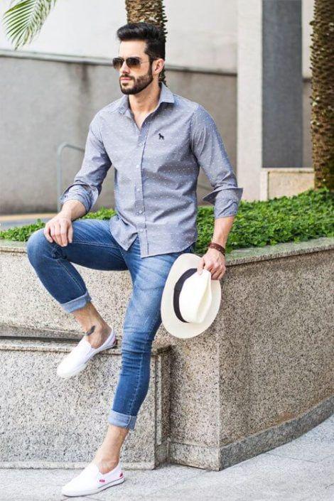 camisa social masculina com calca 3 470x705 - CAMISA SOCIAL MASCULINA com calça, shorts (visuais para trabalhar e passear)