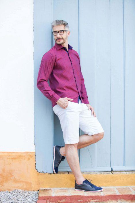 camisa social masculina com shorts 5 470x705 - CAMISA SOCIAL MASCULINA com calça, shorts (visuais para trabalhar e passear)