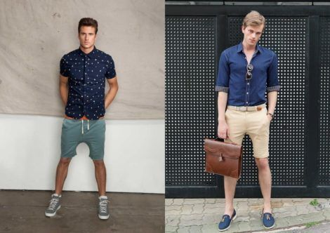 camisa social masculina com shorts 6 470x332 - CAMISA SOCIAL MASCULINA com calça, shorts (visuais para trabalhar e passear)