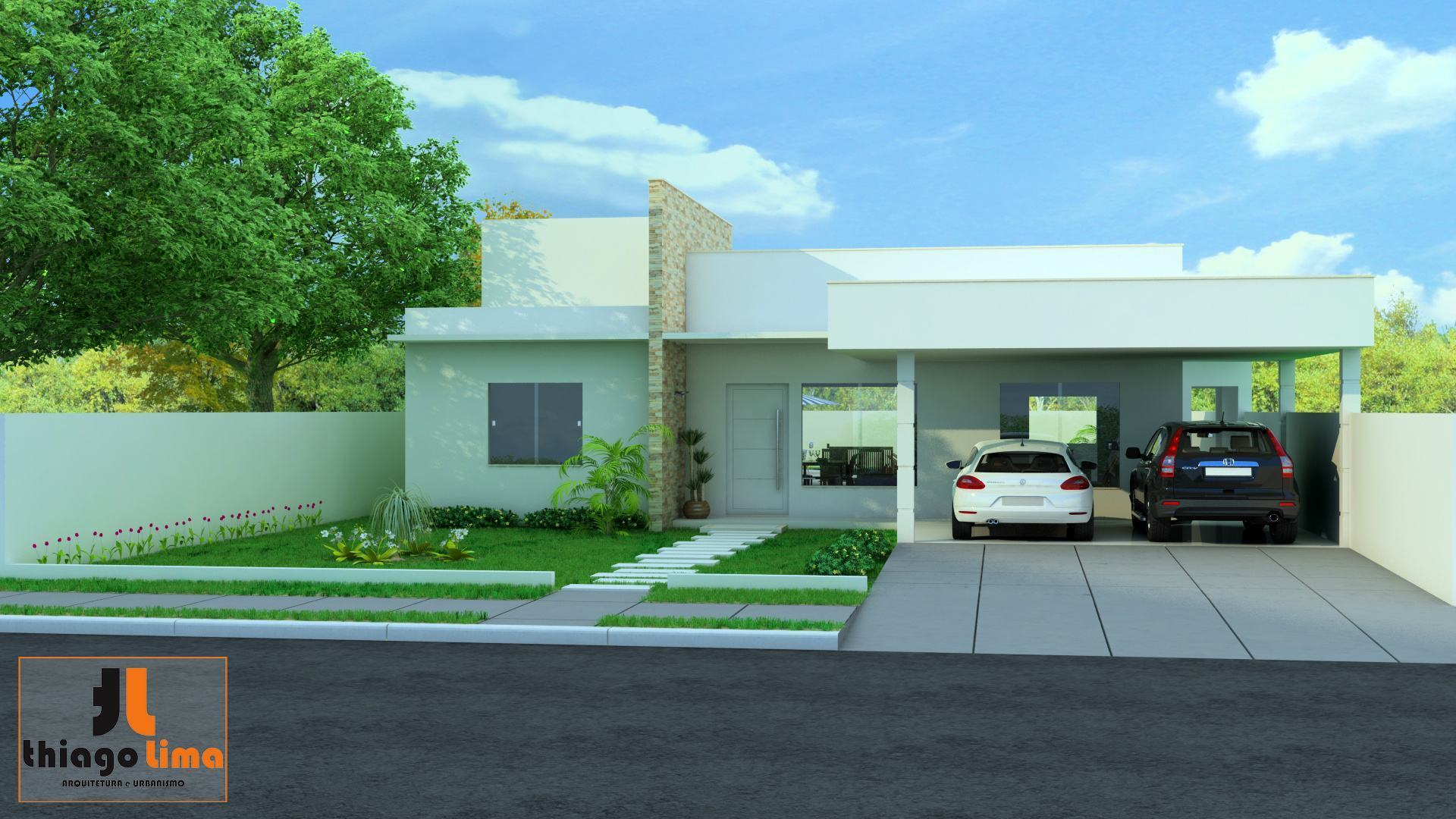 A casa com platibanda moderna e bonita aqui tem fotos Modelo de viviendas para construir