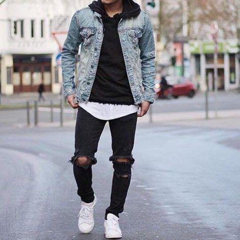 jaqueta jeans com moletom por baixo masculino 470x470 - Blusas de frio masculinas, muitas cores e modelos