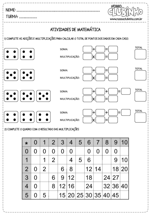 melhores atividades de matematica de multiplicação 500x708 - Atividades de Matemática de multiplicação para aprendizagem
