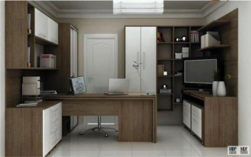mesas de escritório planejadas de madeira 500x313 - Mesas de escritório planejadas para ambientes diversos