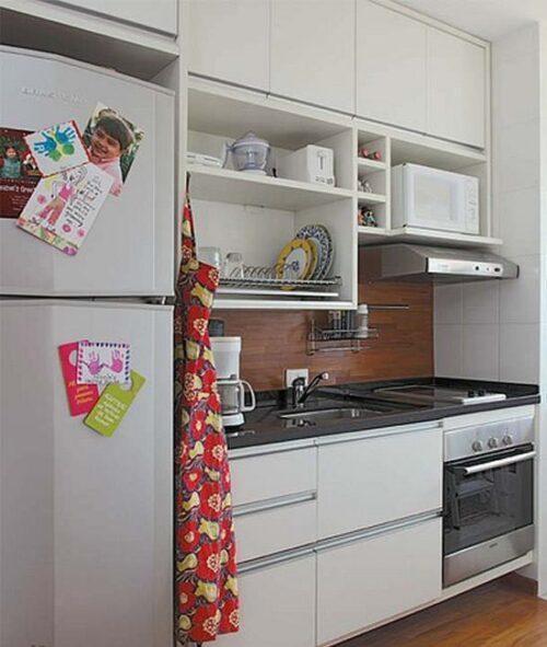 tipos de cozinhas para apartamento pequeno 500x591 - A mais belas cozinhas para apartamento pequeno, tudo com móveis planejados