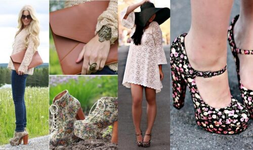 belos calçados com estampas florais 500x297 - Calçados com estampas florais lindos modelos com salto