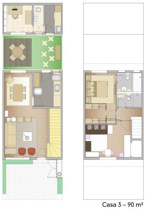 dicas de plantas de sobrados de até 90 m² 500x717 - Plantas de sobrados de até 90 m² fotos para imprimir
