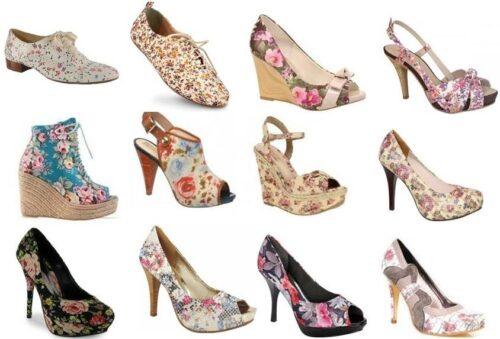 fotos de calçados com estampas florais 500x339 - Calçados com estampas florais lindos modelos com salto
