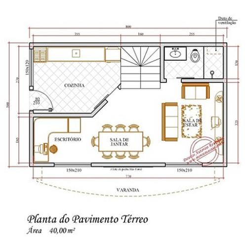 imagens de plantas de sobrados até 80 m² 500x494 - Plantas de sobrados até 80 m² para imprimir