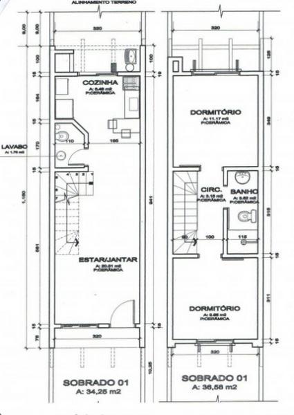 imprimir plantas de sobrados até 70 m² - Plantas de sobrados até 70 m² para imprimir