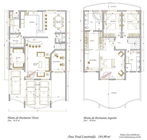 imprimir plantas de sobrados de até 90 m² 500x475 - Plantas de sobrados de até 90 m² fotos para imprimir