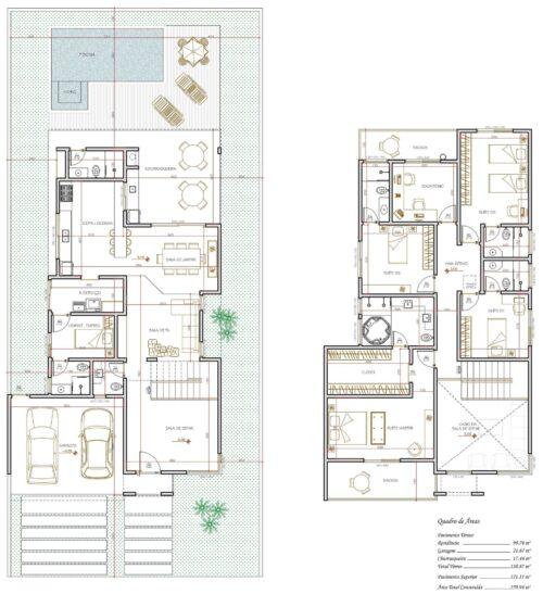 melhores plantas de sobrados até 150 m² 500x547 - Plantas de sobrados até 150 m² para você se inspirar e imprimir