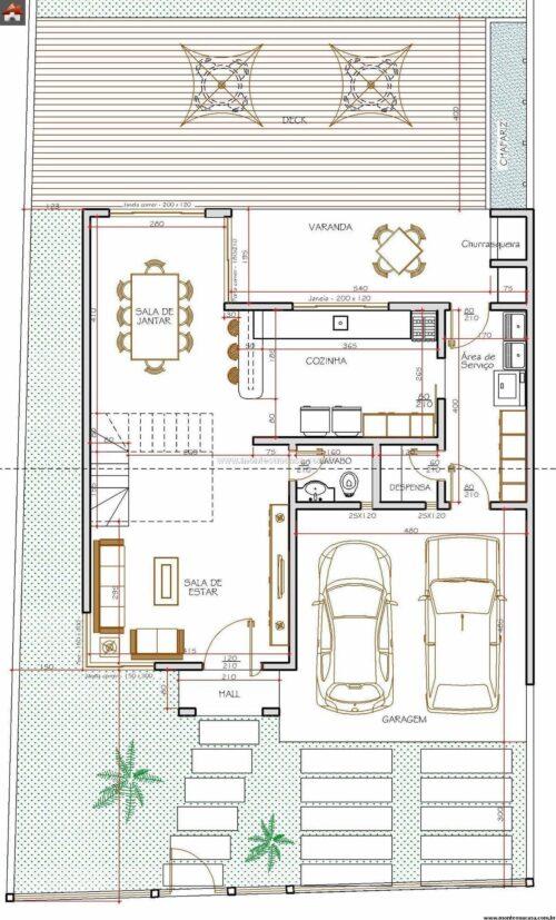 melhores plantas de sobrados de até 90 m² 500x827 - Plantas de sobrados de até 90 m² fotos para imprimir