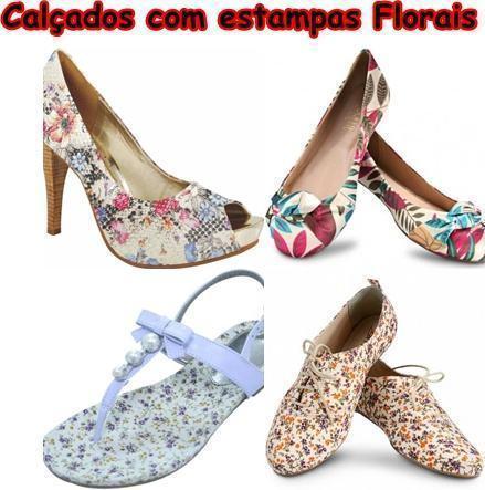 modelos de calçados com estampas florais - Calçados com estampas florais lindos modelos com salto