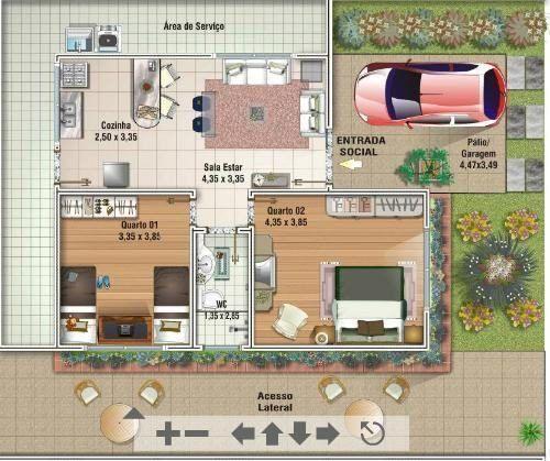 modelos de plantas de sobrados até 100m2 500x419 - Plantas de sobrados até 100 m² confira e imprima