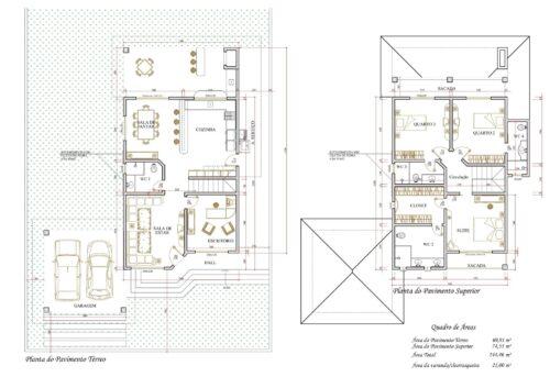 modelos de plantas de sobrados até 150 m² 500x353 - Plantas de sobrados até 150 m² para você se inspirar e imprimir