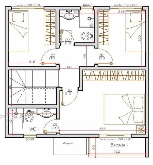 modelos de plantas de sobrados até 70 m² 500x540 - Plantas de sobrados até 70 m² para imprimir