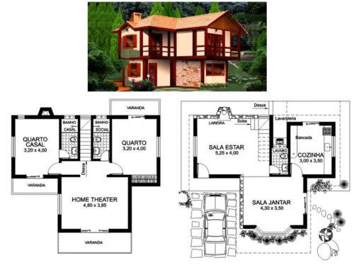 modelos de plantas de sobrados até 80 m² 500x374 - Plantas de sobrados até 80 m² para imprimir