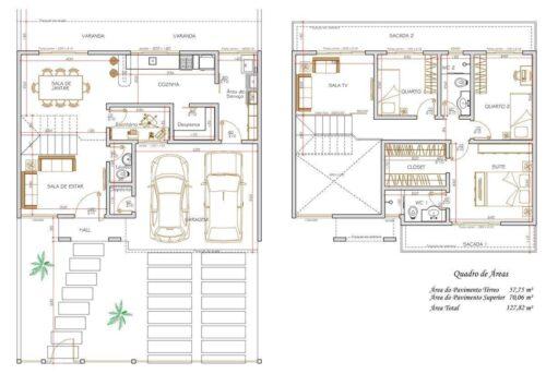 plantas de sobrados até 150 m² 500x354 - Plantas de sobrados até 150 m² para você se inspirar e imprimir