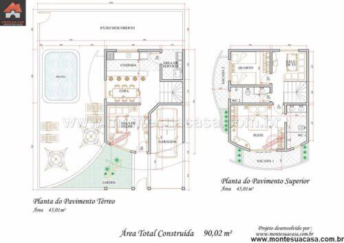 plantas de sobrados até 150 m² dicas 500x353 - Plantas de sobrados até 150 m² para você se inspirar e imprimir