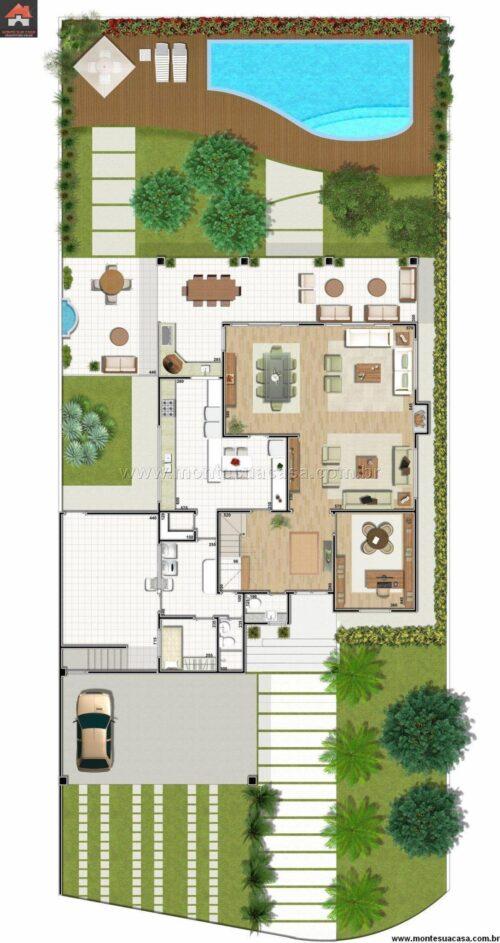 plantas de sobrados até 150 m² gratis 500x943 - Plantas de sobrados até 150 m² para você se inspirar e imprimir