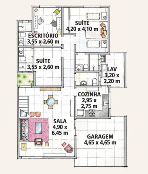 plantas de sobrados até 150 m² para imprimir 500x590 - Plantas de sobrados até 150 m² para você se inspirar e imprimir