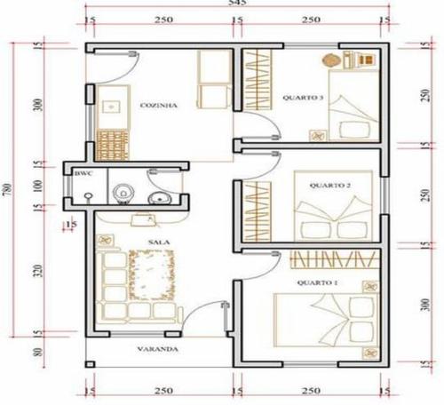 plantas de sobrados até 70 m² online 500x456 - Plantas de sobrados até 70 m² para imprimir