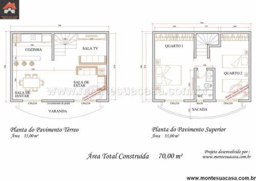plantas de sobrados até 70 m² para imprimir 500x353 - Plantas de sobrados até 70 m² para imprimir