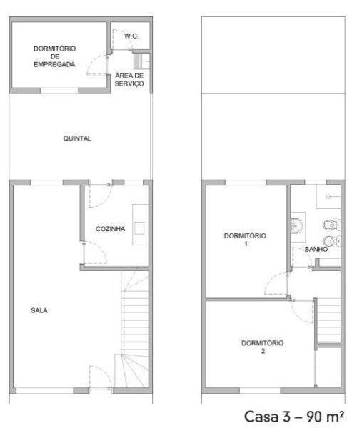 plantas de sobrados de até 90 m² para imprimir 500x607 - Plantas de sobrados de até 90 m² fotos para imprimir