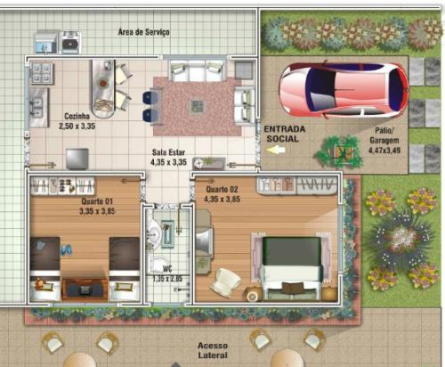 projetos em plantas de sobrados até 80 m² 500x412 - Plantas de sobrados até 80 m² para imprimir