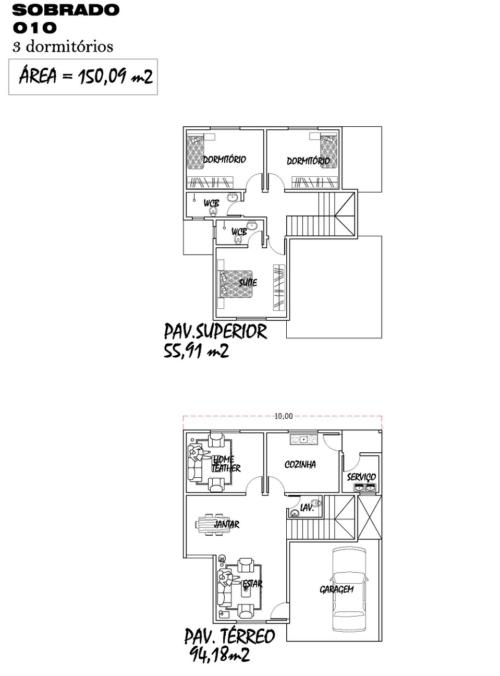 tipos de plantas de sobrados até 150 m² 500x676 - Plantas de sobrados até 150 m² para você se inspirar e imprimir
